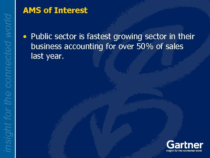 insight for the connected world AMS of Interest • Public sector is fastest growing