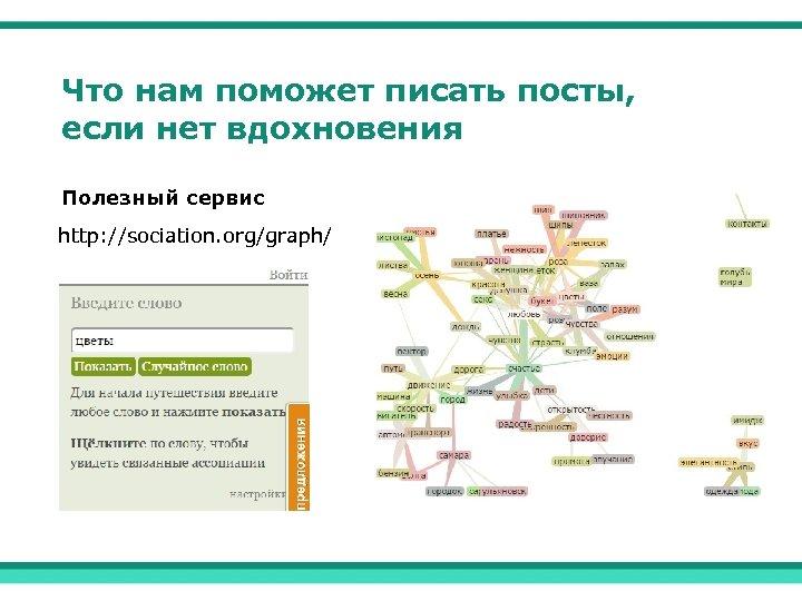 Что нам поможет писать посты, если нет вдохновения Полезный сервис http: //sociation. org/graph/