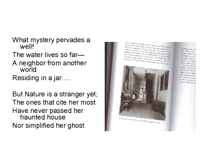 What mystery pervades a well! The water lives so far— A neighbor from another