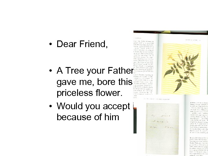 • Dear Friend, • A Tree your Father gave me, bore this priceless