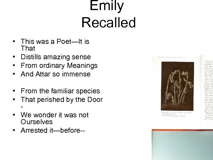Emily Recalled • This was a Poet—It is That • Distills amazing sense •