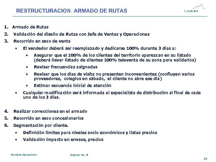 RESTRUCTURACION. ARMADO DE RUTAS 1. Armado de Rutas 2. Validación del diseño de Rutas