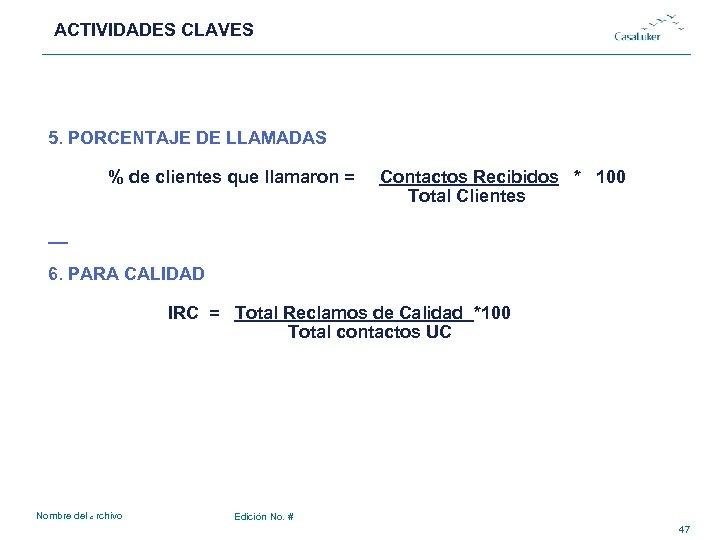 ACTIVIDADES CLAVES # 5. PORCENTAJE DE LLAMADAS % de clientes que llamaron = Contactos