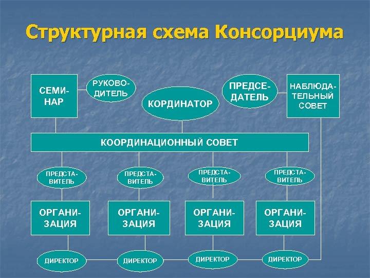 Структурная схема Консорциума СЕМИНАР РУКОВОДИТЕЛЬ КОРДИНАТОР ПРЕДСЕДАТЕЛЬ НАБЛЮДАТЕЛЬНЫЙ СОВЕТ КООРДИНАЦИОННЫЙ СОВЕТ ПРЕДСТАВИТЕЛЬ ОРГАНИЗАЦИЯ ДИРЕКТОР