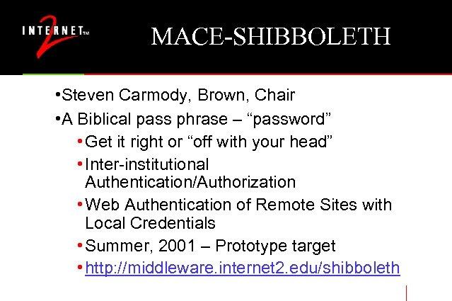 "MACE-SHIBBOLETH • Steven Carmody, Brown, Chair • A Biblical pass phrase – ""password"" •"