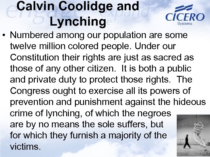 Calvin Coolidge and Lynching • Numbered among our population are some twelve million colored