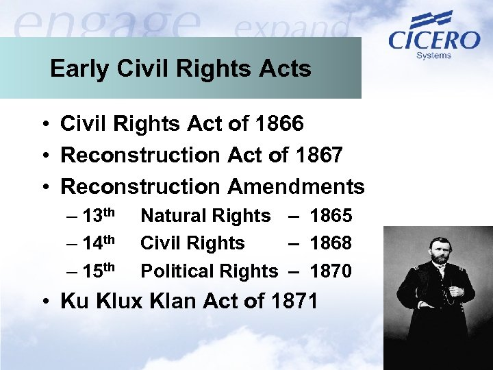 Early Civil Rights Acts • Civil Rights Act of 1866 • Reconstruction Act of