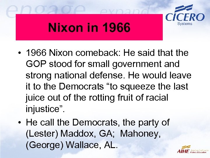 Nixon in 1966 • 1966 Nixon comeback: He said that the GOP stood for