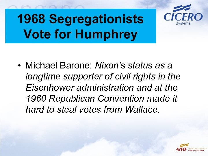 1968 Segregationists Vote for Humphrey • Michael Barone: Nixon's status as a longtime supporter