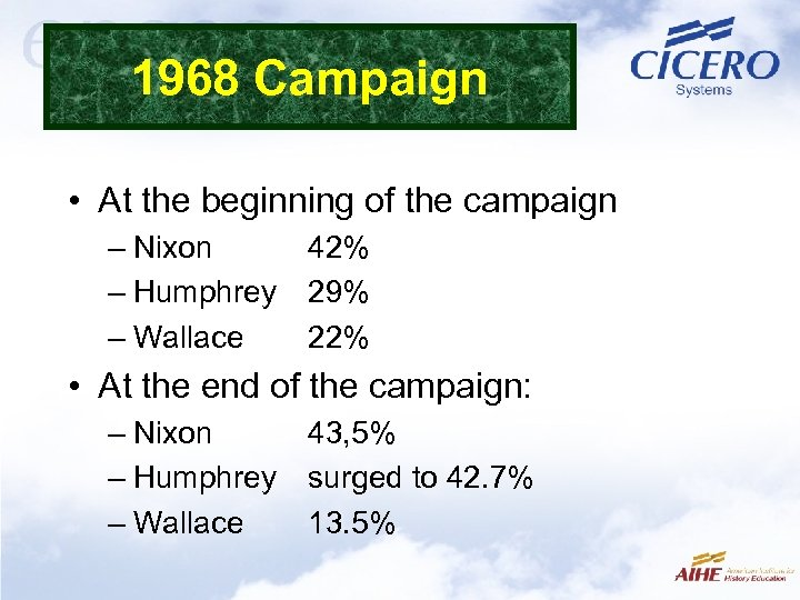 1968 Campaign • At the beginning of the campaign – Nixon 42% – Humphrey