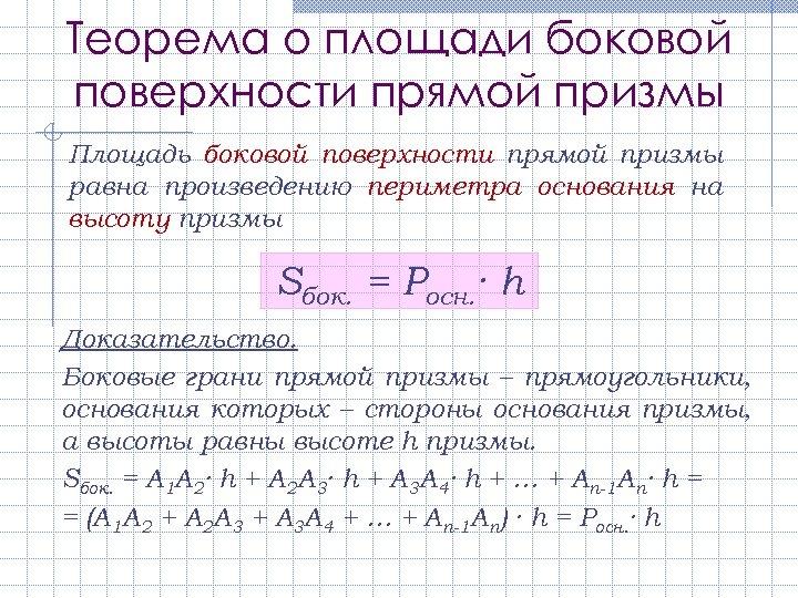 Теорема о площади боковой поверхности прямой призмы Площадь боковой поверхности прямой призмы равна произведению