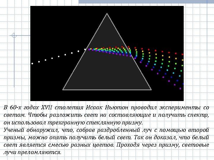 В 60 -х годах ХVII столетия Исаак Ньютон проводил эксперименты со светом. Чтобы разложить