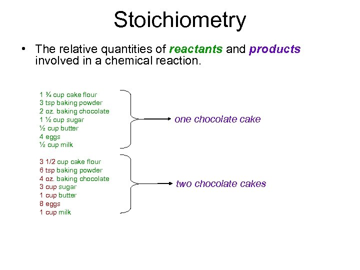 Stoichiometry • The relative quantities of reactants and products involved in a chemical reaction.