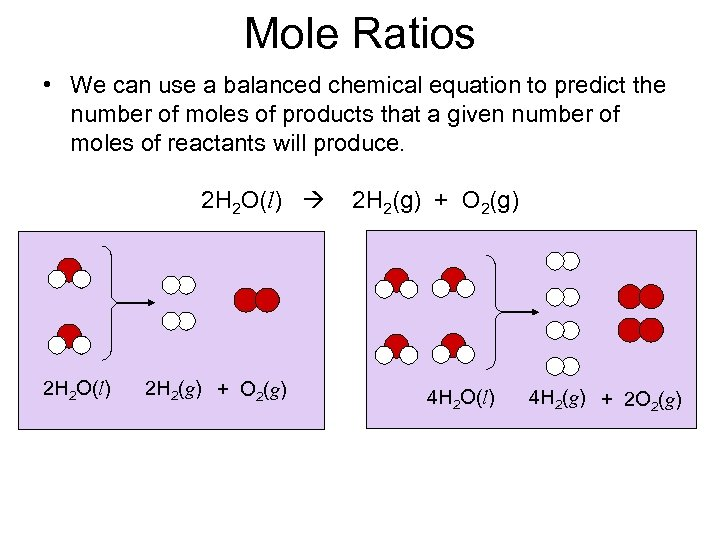 Mole Ratios • We can use a balanced chemical equation to predict the number