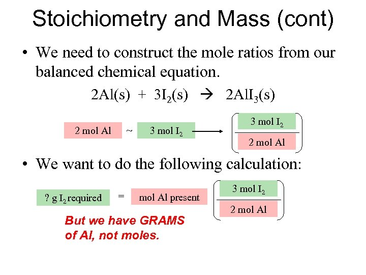Stoichiometry and Mass (cont) • We need to construct the mole ratios from our