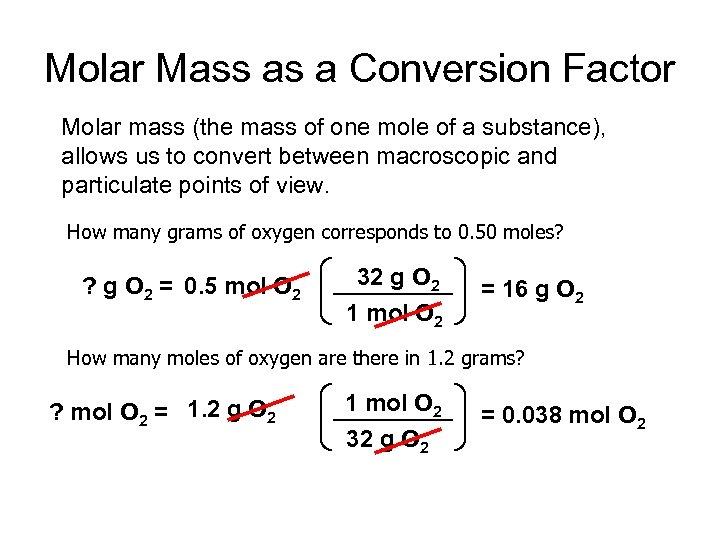 Molar Mass as a Conversion Factor Molar mass (the mass of one mole of