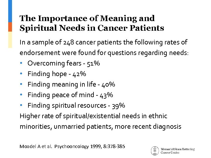 The Importance of Meaning and Spiritual Needs in Cancer Patients In a sample of