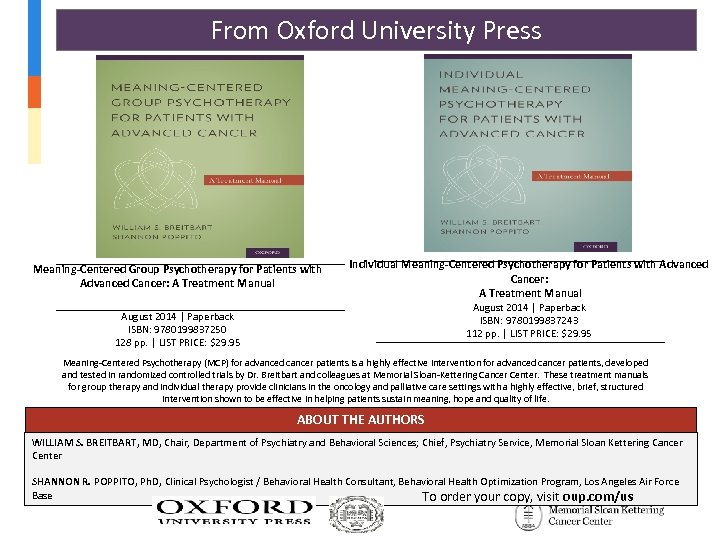 From Oxford University Press Meaning-Centered Group Psychotherapy for Patients with Advanced Cancer: A Treatment