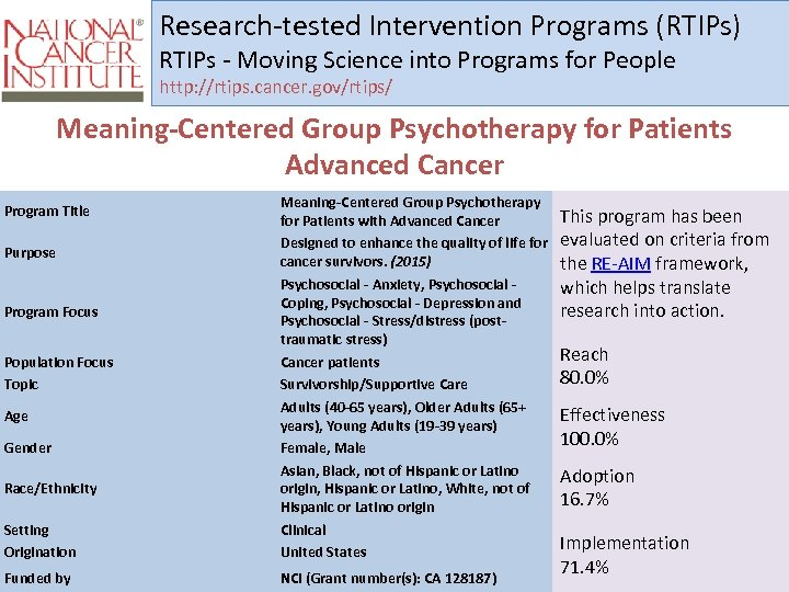 Research-tested Intervention Programs (RTIPs) RTIPs - Moving Science into Programs for People http: //rtips.