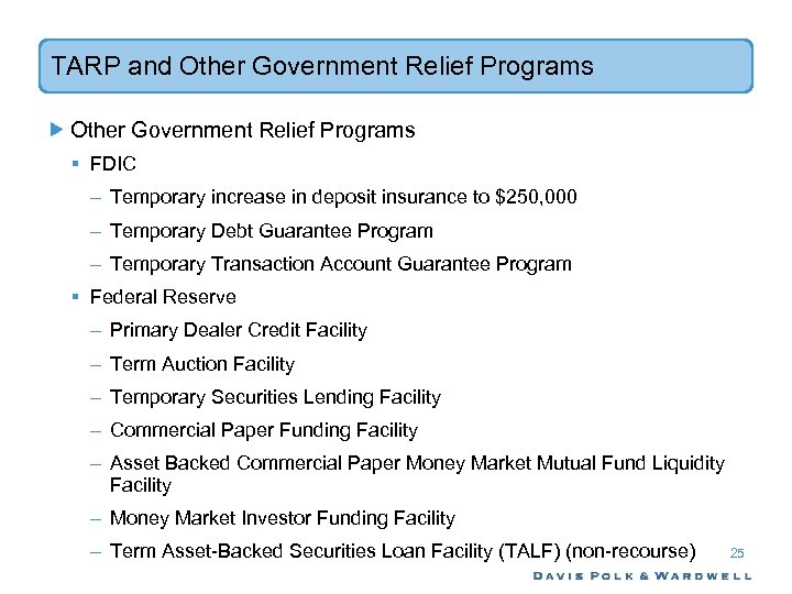 TARP and Other Government Relief Programs § FDIC – Temporary increase in deposit insurance