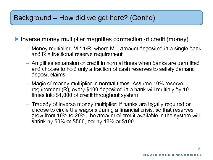 Background – How did we get here? (Cont'd) Inverse money multiplier magnifies contraction of