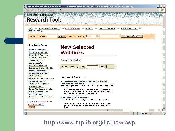 http: //www. mplib. org/listnew. asp