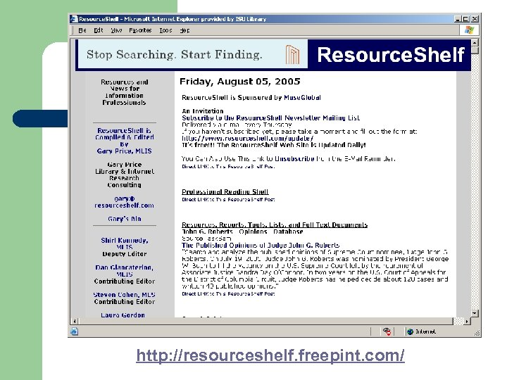 http: //resourceshelf. freepint. com/