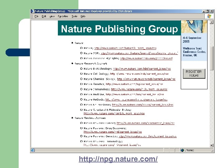 Nature Publishing Group http: //npg. nature. com/