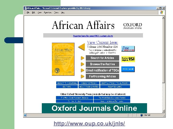 Oxford Journals Online http: //www. oup. co. uk/jnls/
