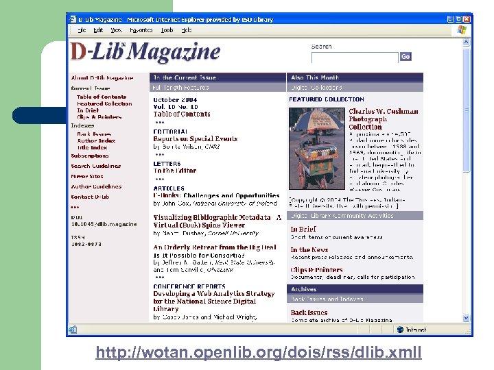 http: //wotan. openlib. org/dois/rss/dlib. xmll