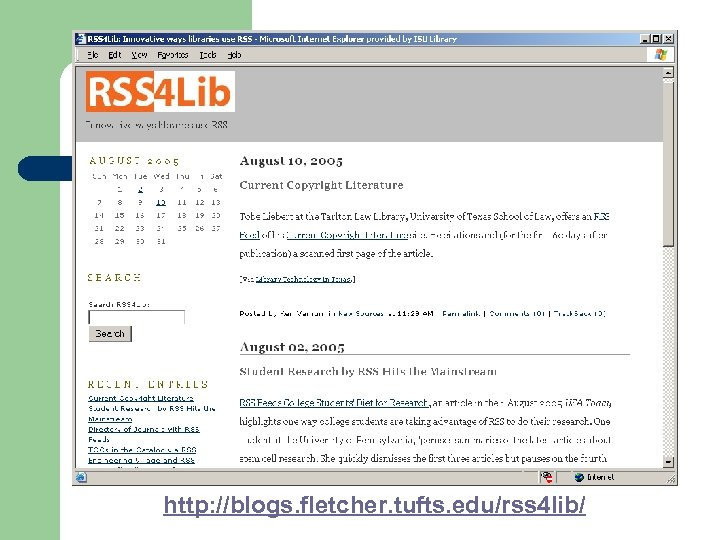 http: //blogs. fletcher. tufts. edu/rss 4 lib/