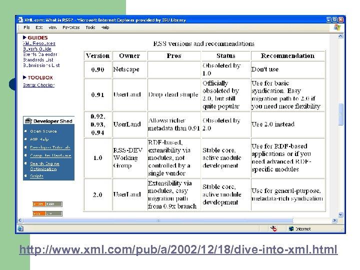 http: //www. xml. com/pub/a/2002/12/18/dive-into-xml. html