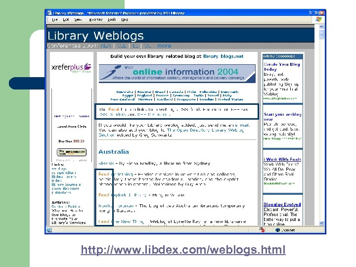 http: //www. libdex. com/weblogs. html