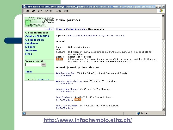 http: //www. infochembio. ethz. ch/