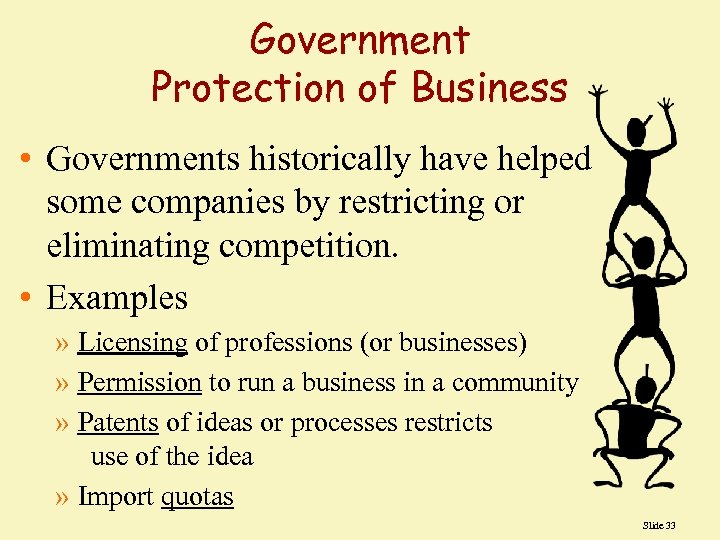 Government Protection of Business • Governments historically have helped some companies by restricting or