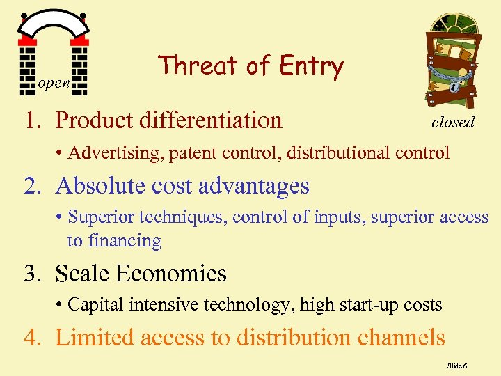 open Threat of Entry 1. Product differentiation closed • Advertising, patent control, distributional control