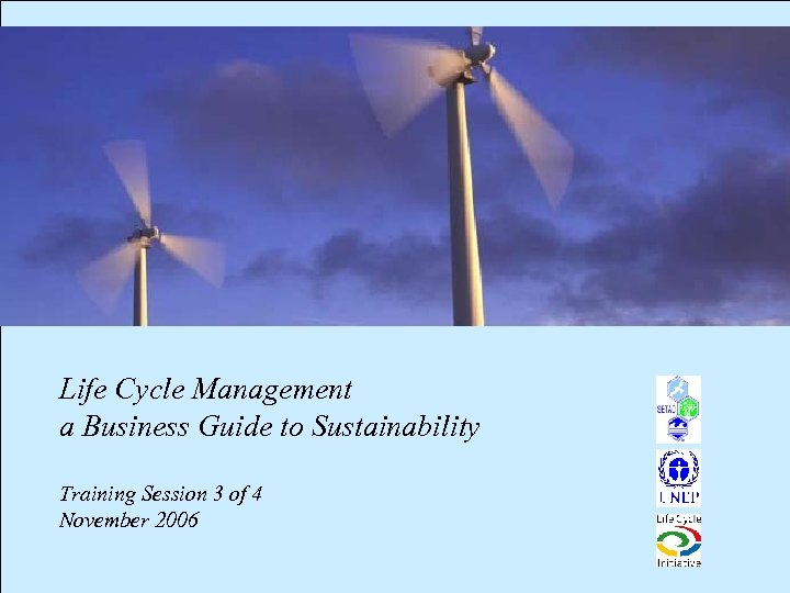 Life Cycle Management a Business Guide to Sustainability Training Session 3 of 4 November