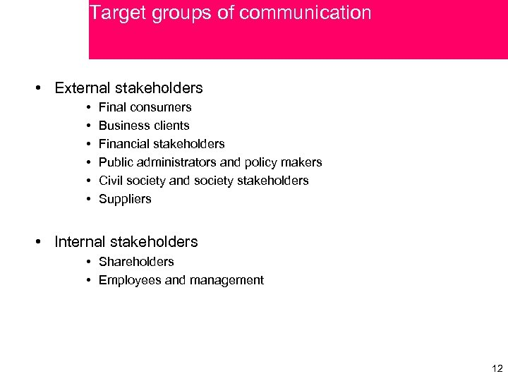 Target groups of communication • External stakeholders • • • Final consumers Business clients