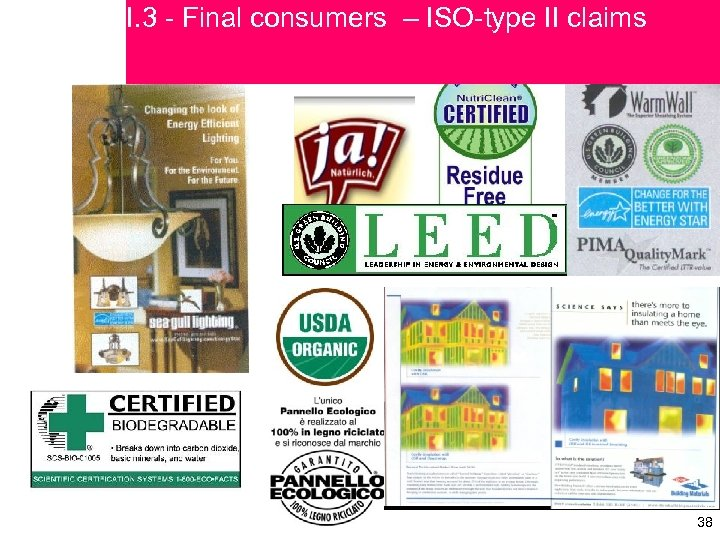 I. 3 - Final consumers – ISO-type II claims 38 38