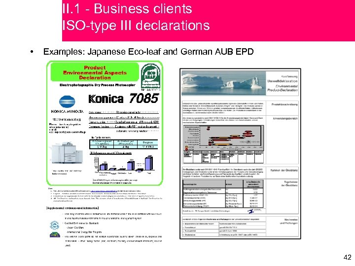 II. 1 - Business clients ISO-type III declarations • Examples: Japanese Eco-leaf and German