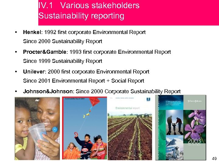 IV. 1 Various stakeholders Sustainability reporting • Henkel: 1992 first corporate Environmental Report Since