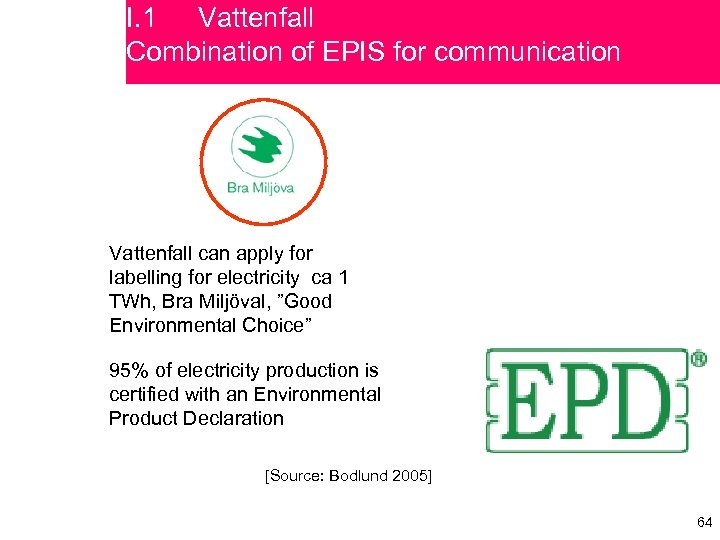 I. 1 Vattenfall Combination of EPIS for communication Vattenfall can apply for labelling for