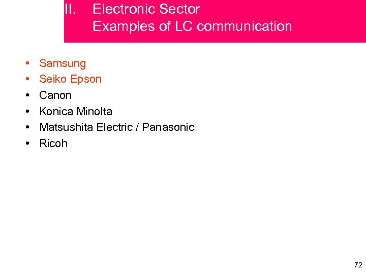 II. • • • Electronic Sector Examples of LC communication Samsung Seiko Epson Canon