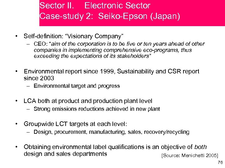 """Sector II. Electronic Sector Case-study 2: Seiko-Epson (Japan) • Self-definition: """"Visionary Company"""" – CEO:"""