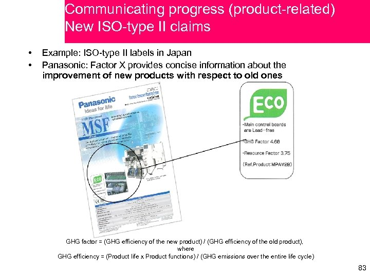 Communicating progress (product-related) New ISO-type II claims • • Example: ISO-type II labels in