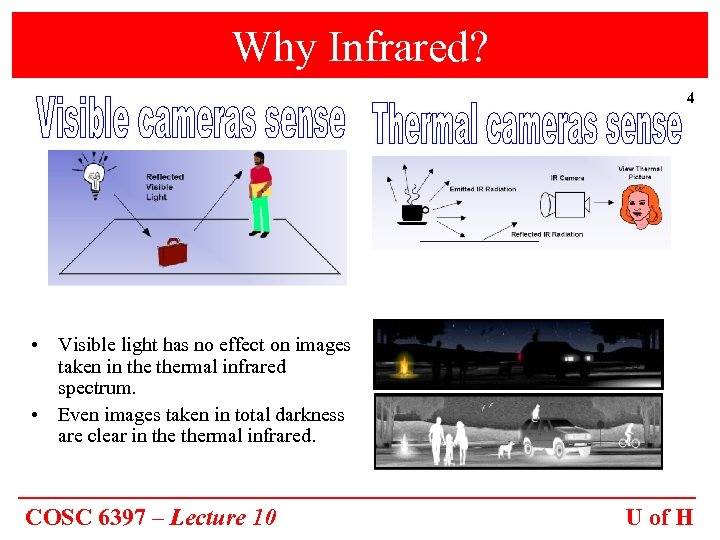 Why Infrared? 4 • Visible light has no effect on images taken in thermal