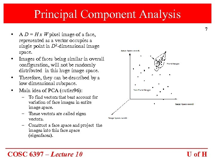 Principal Component Analysis • • A D = H x W pixel image of