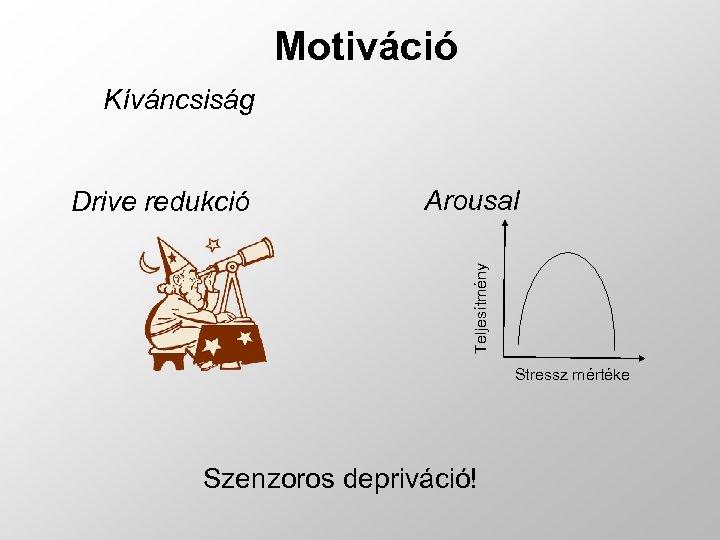 Motiváció Kíváncsiság Arousal Teljesítmény Drive redukció Stressz mértéke Szenzoros depriváció!
