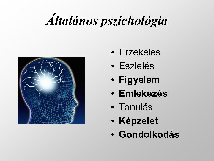 Általános pszichológia • • Érzékelés Észlelés Figyelem Emlékezés Tanulás Képzelet Gondolkodás