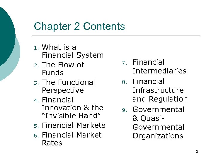 Chapter 2 Contents 1. 2. 3. 4. 5. 6. What is a Financial System